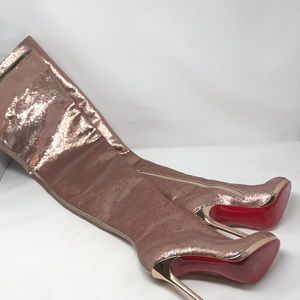 Christian Louboutin Thigh High Pink Sequin Boots